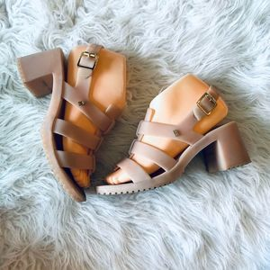 Melissa Block Heel Jelly Shoes Gold Buckle Blush 7